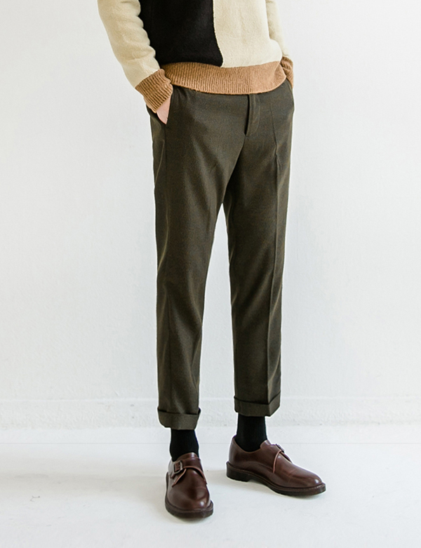 TURN UP WIDE SLACKS_KHAKI