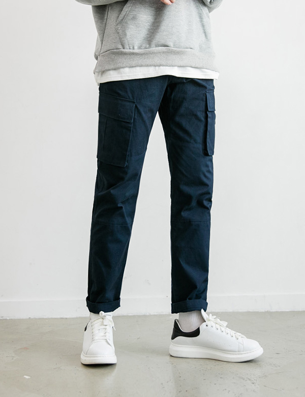 COTTON CARGO PANTS_NAVY