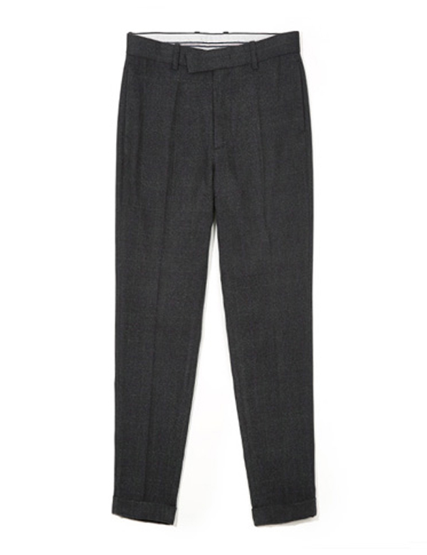 TURN UP WIDE SLACKS_CHARCOAL