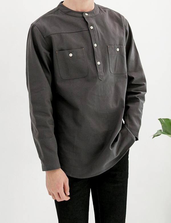 HENLEY PATCHWORK SHIRT_CHARCOAL
