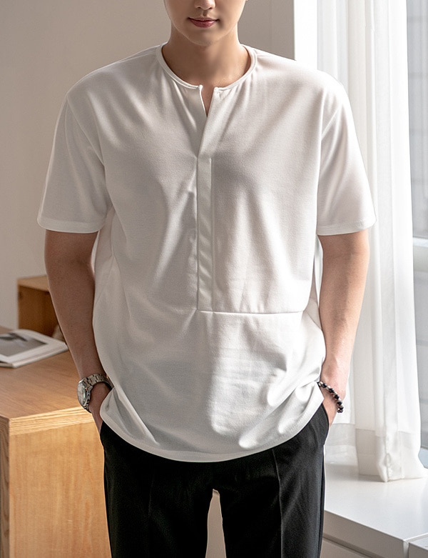 Square Henly-neck Half Tee[CF22877]