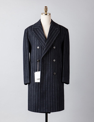 [BX2831]Stripe Double Over Coat_navy( 1 color M/L 사이즈 )
