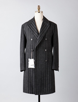 [BX2832]Stripe Double Over Coat_charcoal( 1 color M/L 사이즈 )