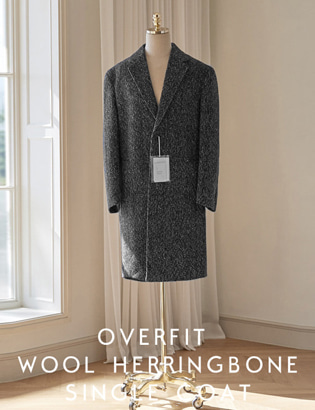 [CT3029] Overfit Wool Herringbone Singlecoat_black ( 1 color M/L 사이즈 )