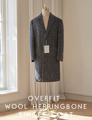 [CT3030] Overfit Wool Herringbone Singlecoat_navy ( 1 color M/L 사이즈 )