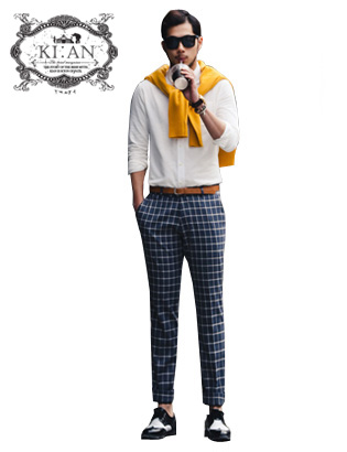[KIːAN]regularfit checkslacks pants #navy[K142PTNY3]