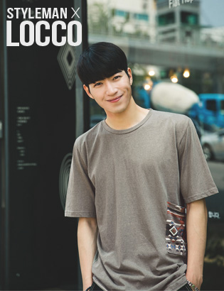 [AF1101]indian side printing pocket( brown color 3/5 사이즈 )[LOCCO]