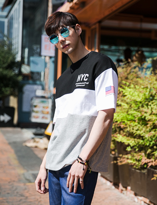 [BE2635]NYC 3단 배색티( 3 color Free 사이즈 )