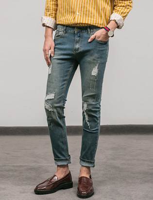 [BS0743]Tripe Tension Jeans( 2 color S~XXL size )