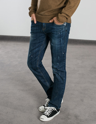 [BS0755]Indigo Paint Jeans( 1 color S/M/L size )