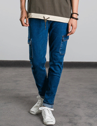 [BP0179]Banded Cargo Jeans( 1 color S/M/L size )
