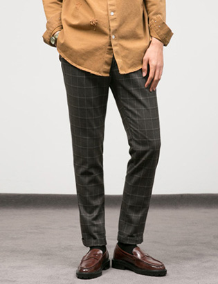 [BT2090]Brown Check Slacks( 1 color M/L/XL size )