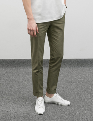 [BJ0743]Rollup Cotton Pants - Khaki( 1 color S/M/L size )