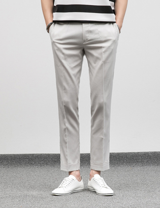 [BJ0746]Turn-up Light Slacks( 2 color M/L size )