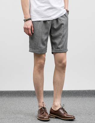 [BJ0747]Turn-up Half Slacks( 5 color M/L size )