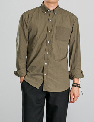 [BP0186]Solid Washed Shirts( 3 color S/M/L size )
