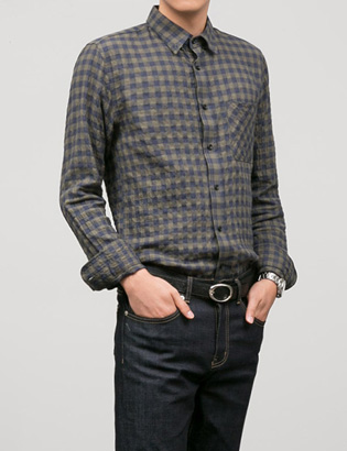 [BT2098]Square Check Shirts ( 2 color M/L size )