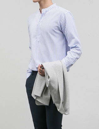 [BJ0738]Stripe Henly Shirts( 4 color S/M/L size )