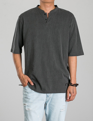 [BL2768]Washed Henley Tee( 2 color Free size )