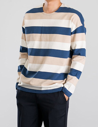 [BP2212]Marble Stripe Tee( 3 color Free size )