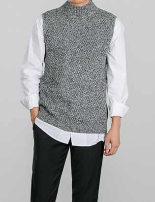 [BS0724]Time Knit Vest( 4 color Free size )
