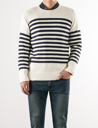 [BS2799]Block Stripe Knit( 4 color Free size )